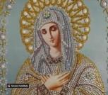 Икона образ Богородицы Умиление из биссера