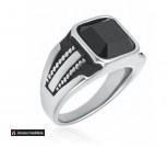 Перстень из ювелирной стали Чёрный кристалл