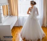 Свадебное платье с корсетом цвета капучино, кружево