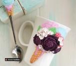 Кружка и ложка с декором ' Цветочное мороженное'