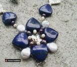 Синие герданы жемчуг, лазурит