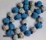 Бусы текстильные синие с бусами и стеклом