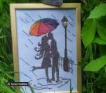 Вышивка крестиком Пара под зонтом