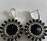 Серьги чёрные с серебром