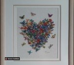 Картина «Сердце из бабочек»,ручная работа, вышивка.